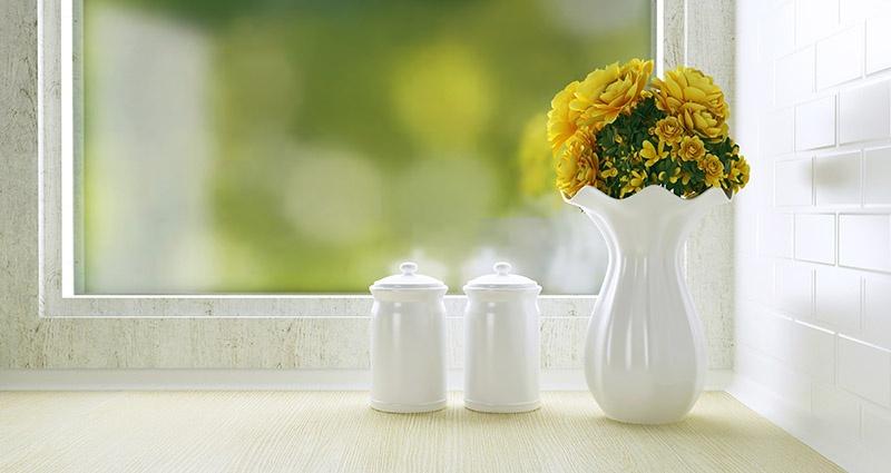 retro kitchen with milk glass vase